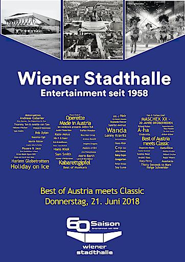 Plakatsujet Wiener Stadthalle 60. Saison - Entertainment seit 1958