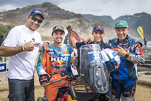 Heinz Kinigadner, Matthias Walkner, Stephane Peterhansel and Karl Katoch pose for a portrait during the Red Bull Hare Scramble 2018 in Eisenerz, Austria on June 2, 2018 // Philip Platzer/Red Bull Content Pool // AP-1VUSS93S52111 // Usage for editorial use only // Please go to www.redbullcontentpool.com for further information. //