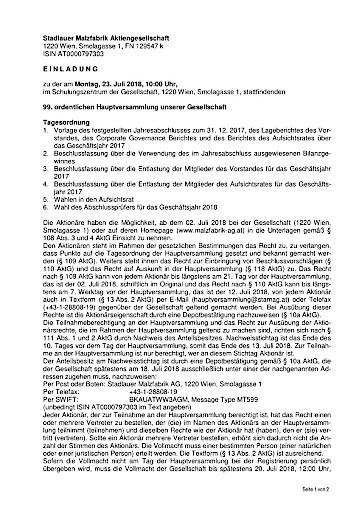 EANS-Hauptversammlung: Stadlauer Malzfabrik AG / Einberufung zur Hauptversammlung gemäß § 107 Abs. 3 AktG