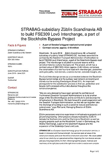 EANS-News: STRABAG-subsidiary Züblin Scandinavia AB to build FSE309 Lovö Interchange, a part of the Stockholm Bypass Project