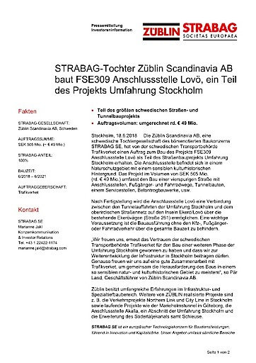 EANS-News: STRABAG-Tochter Züblin Scandinavia AB baut FSE309 Anschlussstelle Lovö, ein Teil des Projekts Umfahrung Stockholm