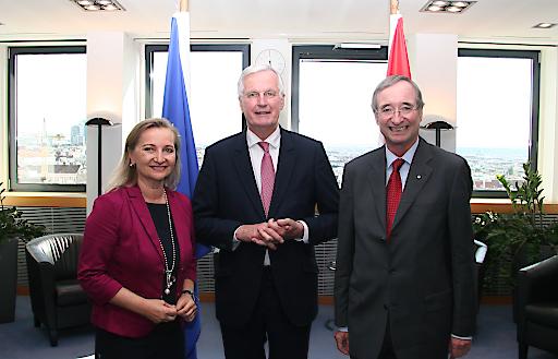 UEAPME-Präsidentin und WKÖ-Vizepräsidentin Ulrike Rabmer-Koller, Michel Barnier, EU-Chefverhandler für die Austrittsverhandlungen mit dem Vereinigten Königreich, und EUROCHAMBRES-Präsident Christoph Leitl