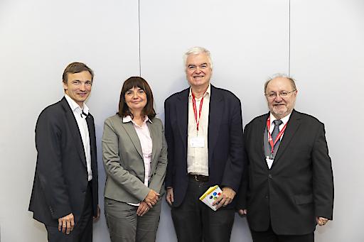 https://www.apa-fotoservice.at/galerie/14417 von links: Ronald Bieber OCG, Heidrun Strohmeyer BMBWF, Gerald Futschek TU Wien, Anton Knierzinger Projektleiter OCCF 2018