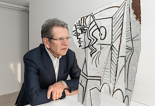 Hubert Looser mit Pablo Picasso, Sylvette, 1954 beidseitige Ölmalerei auf ausgeschnittenem Metallblech 69,9 x 47 x 1 cm © Succession Picasso / Bildrecht, Wien, 2018 Foto: Mathias Brechbühl