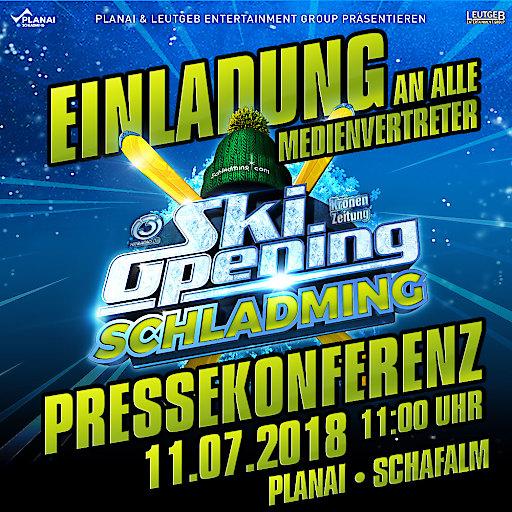 Einladung zu einer besonderen Pressekonferenz für das Ski-Opening Schladming 2018.