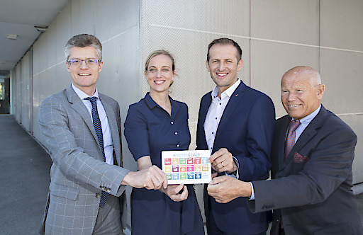 respACT - Business Lunch in Salzburg, 02.07.2018. V.l.n.r.: Hugo Rohner (Vorstandsvorsitzender SKIDATA AG), Daniela Knieling (Geschäftsführerin respACT), Dusko Stojakovic (Geschäftsführer Werner & Mertz), Heinz Felsner (respACT-Vizepräsident und Präsident EFH Beteiligung GmbH).