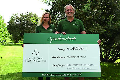 Übergabe des PCCC-Spendenschecks mit Bundesministerin Juliane Bogner-Strauß und Robert Riedl (PERI Group)
