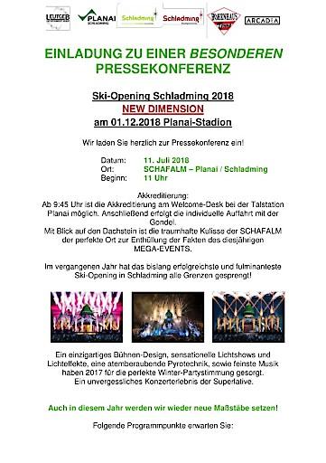 Einladung zur besonderen Pressekonferenz für das SKI-OPENING Schladming 2018