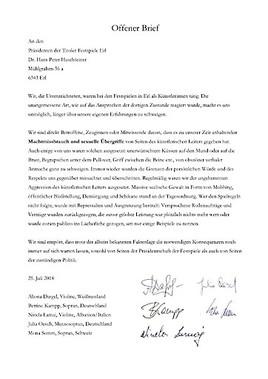 Offener Brief An Den Prasidenten Der Tiroler Festspiele Erl Elisabeth Kulman 25 07 2018