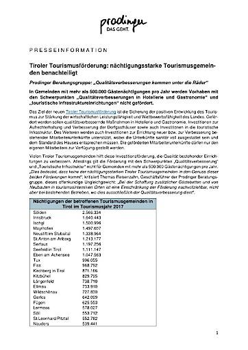 Tiroler Tourismusförderung: nächtigungsstarke Tourismusgemeinden benachteiligt