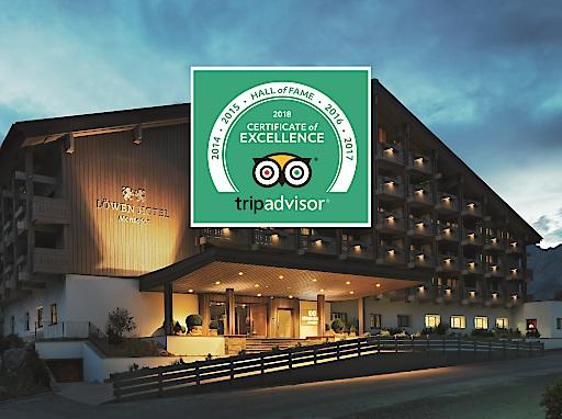 """Das Löwen Hotel Montafon wurde von der größten Reise-Website TripAdvisor.com bereits zum fünften Mal mit dem Certificate of Excellence ausgezeichnet und damit in die """"Hall of Fame"""" aufgenommen."""