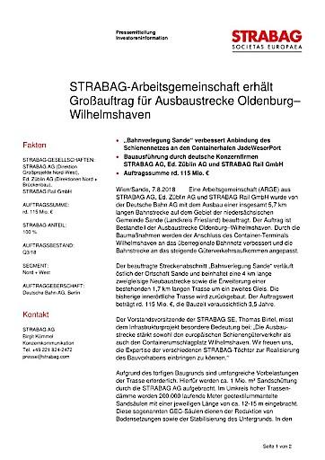 EANS-News: Strabag-Arbeitsgemeinschaft erhält Großauftrag für Ausbaustrecke Oldenburg–Wilhelmshaven
