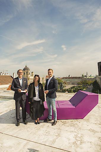 Im BIld v.l.n.r.: MQ Direktor Christian Strasser, Kulturstadträtin Veronica Kaup-Hasler, Kulturminister Gernot Blümel