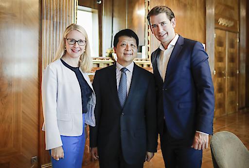 Huawei Rotating Chairman Guo Ping, Bundeskanzler Sebastian Kurz, Wirtschaftsministerin Margarete Schramböck