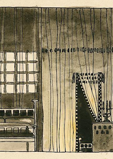"""Koloman Moser, Bühnenbildentwurf zu """"Er und Sie"""" von George Courteline, Wien, Theatermuseum"""
