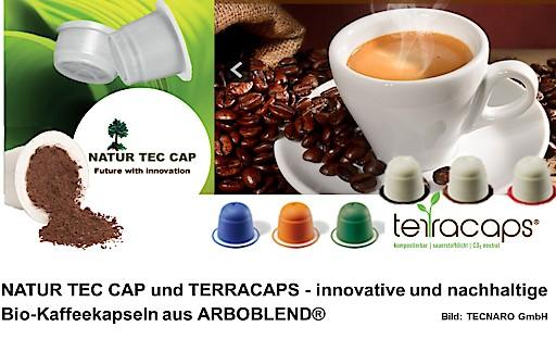 """NATUR TEC CAP und TERRACAPS - innovative und nachhaltige Bio-Kaffeekapseln aus ARBOBLEND®. Weiterer Text über ots und www.presseportal.de/nr/110126 / Die Verwendung dieses Bildes ist für redaktionelle Zwecke honorarfrei. Veröffentlichung bitte unter Quellenangabe: """"obs/TECNARO GmbH"""""""