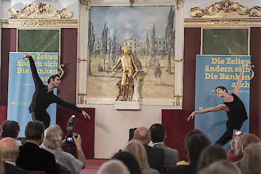 Preisträger Mihail Sosnovschi und seiner Kollegin Maria Yakovleva, Erste Solotänzerin der Wiener Staatsoper