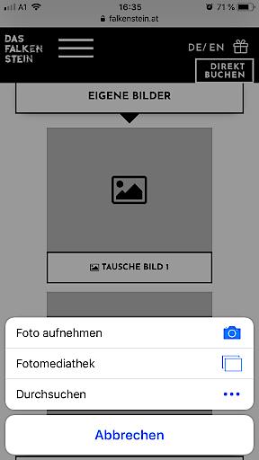 Screenshot INCERT Smartphone - Bildupload & Video am Gutschein