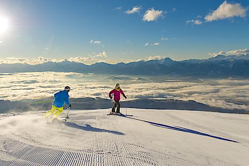 Skifahren auf der Gerlitzen auf breiten, sicheren Pisten.