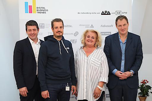 https://www.apa-fotoservice.at/galerie/15777 Im Bild v.l.n.r.: Alexis Johann (Styria Content Creation, FehrAdvice & Partners), Klaus Oberecker (MindTake Research), Barbara Rauchwarter (APA – Austria Presse Agentur) und Gerhard Fehr (FehrAdvice & Partners)