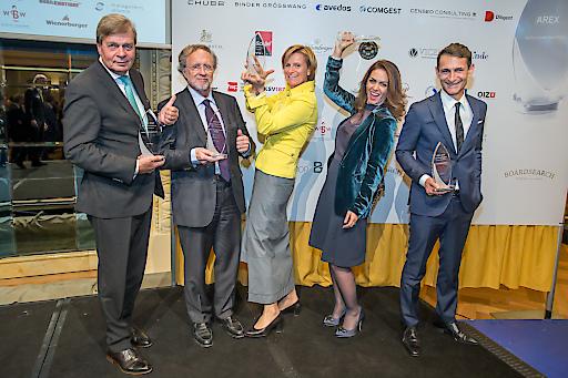 Die AREX-Preisträger 2018 - Vlnr: Erich Gebhardt (Greiner), Friedrich Rödler (Erste), Karin Krobath (Licht für die Welt), Samira Rauter (People Share), Michael Nikbakhsh (profil)