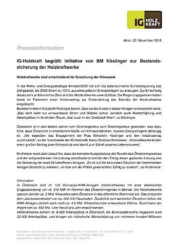 IG-Holzkraft begrüßt Initiative von BM Köstinger zur Bestandssicherung der Holzkraftwerke