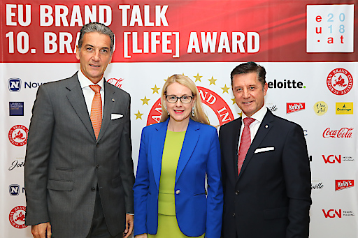 Harald Neumann, CEO Novomatic AG, Wirtschaftsministerin Margarete Schramböck, Gerhard Hrebicek, Präsident European Brand Institute