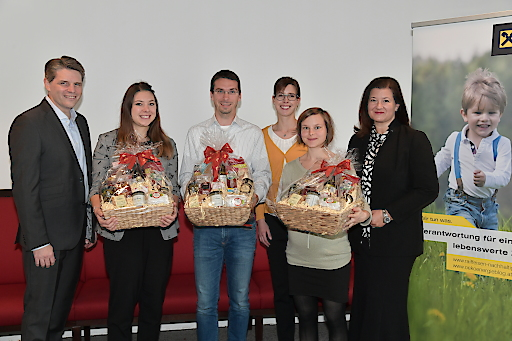 Preisübergabe 2018, v.l.n.r.: Andreas Kabela (SV Österreich), Barbara Manas (RBI), Stefan Altenburger (RBI), Agnes Dersch (RBSK), Annemarie Haydn (RLB-NOE) sowie Andrea Sihn-Weber (RBI)
