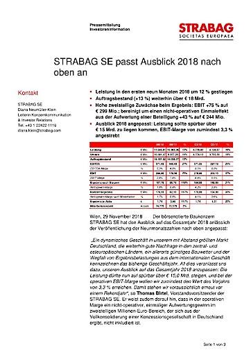EANS-News: Strabag SE passt Ausblick 2018 nach oben an