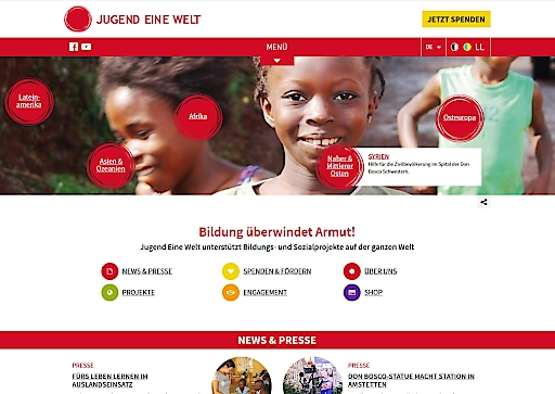 Startseite der neuen Homepage von Jugend Eine Welt