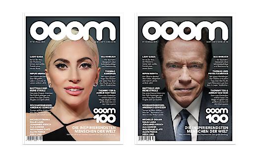 Die aktuelle OOOM-Ausgabe mit dem OOOM 100-Ranking erscheint gleich mit zwei Covers im Handel: Lady Gaga und Arnold Schwarzenegger.