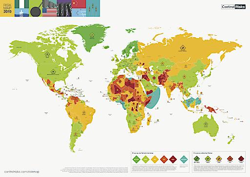 """RiskMap 2019. Weiterer Text über ots und www.presseportal.de/nr/17205 / Die Verwendung dieses Bildes ist für redaktionelle Zwecke honorarfrei. Veröffentlichung bitte unter Quellenangabe: """"obs/Control Risks GmbH"""""""