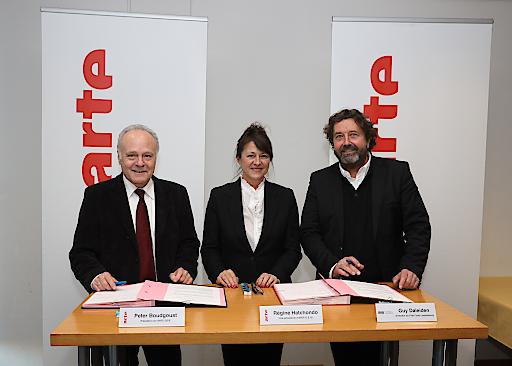 Peter Boudgoust, ARTE-Präsident, Régine Hatchondo, ARTE-Vize-Präsidentin und Guy Daleiden, Geschäftsführer Film Fund Luxemburg.