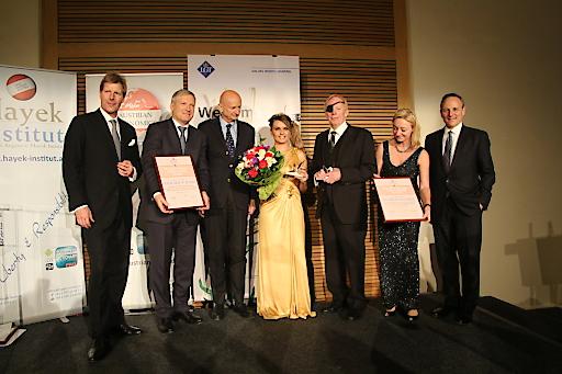 Preisträger, Laudatoren und Gastgeber des Hayek Lifetime Achievement Awards 2018