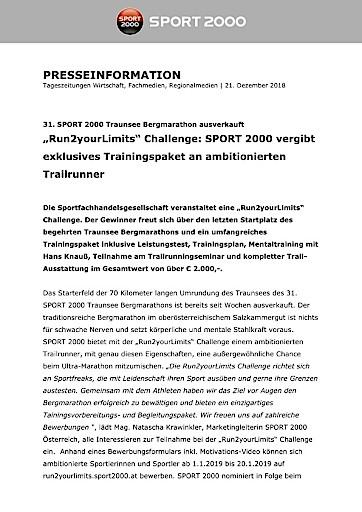 """""""Run2yourLimits"""" Challenge: SPORT 2000 vergibt exklusives Trainingspaket an ambitionierten Trailrunner"""
