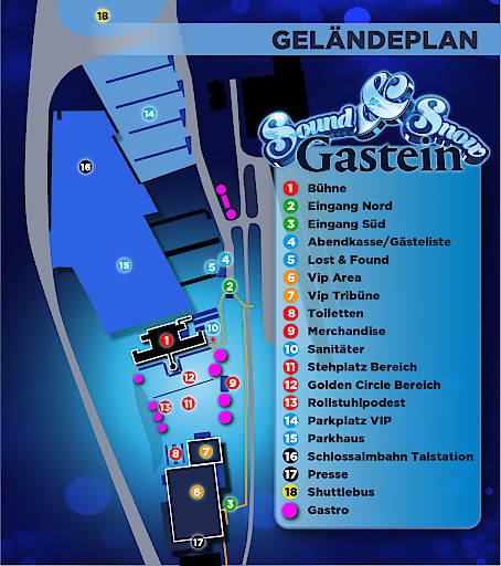 Geländeplan vom Sound & Snow Gastein zur Orientierung.
