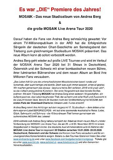 MOSAIK - Das neue Studioalbum von Andrea Berg & die große MOSAIK Live Arena Tour 2020