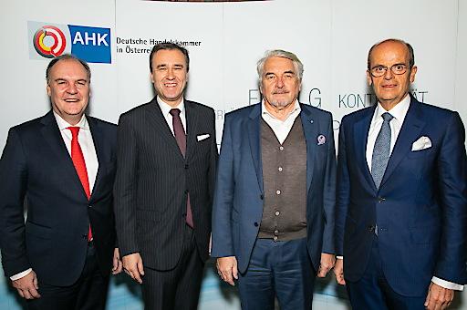 Thomas Gindele (Hauptgeschäftsführer Deutsche Handelskammer in Österreich, DHK), Christian Jauk (CEO der GRAWE Bankengruppe), Manfred Broy (Gründungspräsident Zentrum Digitalisierung.Bayern.), Wolfgang Leitner (Vorstandsvorsitzender Andritz AG)