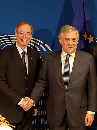 Präsident der Europäischen Wirtschaftskammern EUROCHAMBRES, Christoph Leitl, und der Präsident des Europäischen Parlaments, Antonio Tajani