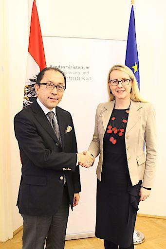 Wirtschaftsministerin Margarete Schramböck hat am 31.1. den Japanischen Botschafter Kiyoshi KOINUMA zu einem Arbeitsgespräch empfangen.