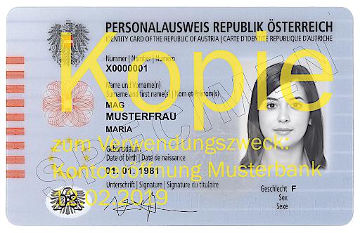 Beispiel mit Wasserzeichen gekennzeichnete Ausweiskopie