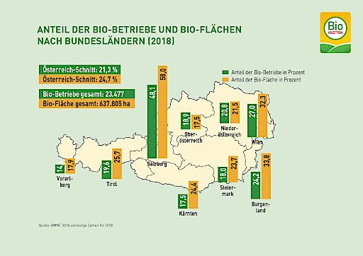 Anteile von Bio-Flächen und Bio-Betrieben nach Bundesländern