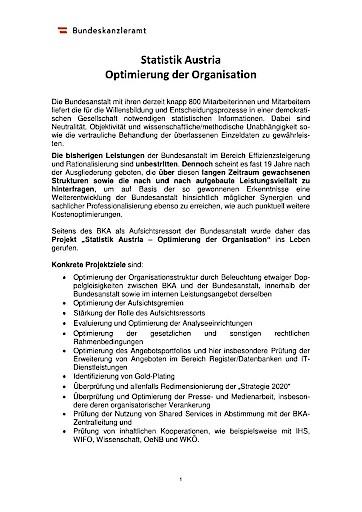 """Regierungssprecher: Veröffentlichung zum Projekt """"Optimierung der Organisation der Statistik Austria"""""""