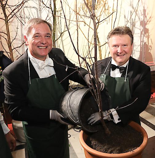 Walter Ruck (Landesobmann Wiener Wirtschaftsbund, Präsident der Wiener Wirtschaftskammer) und Michael Ludwig (Wiener Bürgermeister) pflanzen einen Baum