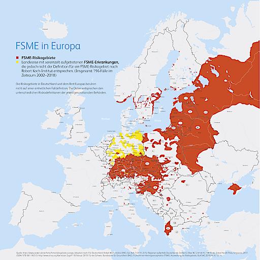 FSME-Risikogebiete in Europa