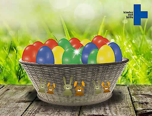 Das Kindernothilfe Osternest: Mit einem Klick bunte Eier knacken, Überraschungen entdecken und doppelt Freude schenken.