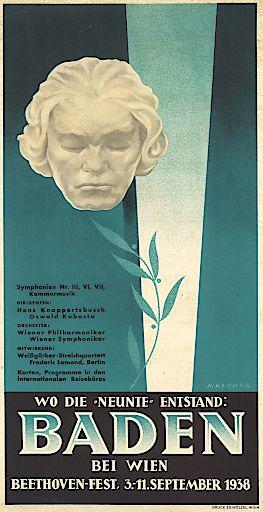 Beethoven-Fest Baden 1938, Plakat, Rollettmuseum / Städtische Sammlungen Baden