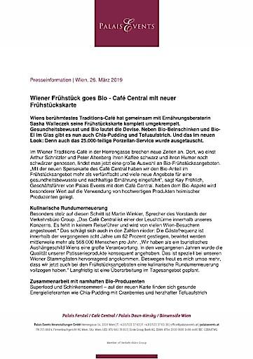 Wiener Frühstück goes Bio - Café Central mit neuer Frühstückskarte