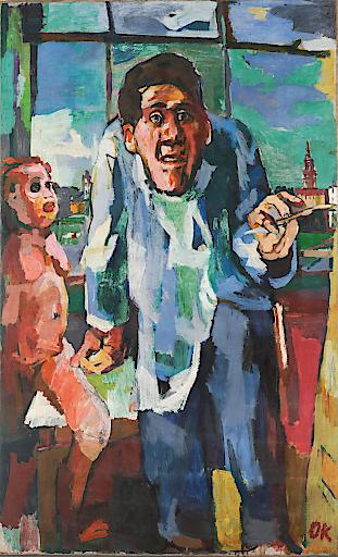 Ausstellung im Leopold Museum: Oskar Kokoschka. Expressionist, Migrant, Europäer. Oskar Kokoschka (1886—1980), Selbstbildnis an der Staffelei, 1922, Öl auf Leinwand, 181,1 x 111,1 cm, Leopold Privatsammlung (c) Fondation Oskar Kokoschka/Bildrecht Wien, 2019