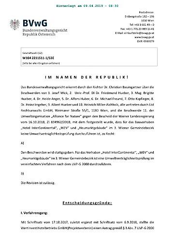 List Rechtsanwalts GmbH hat gesiegt - Heumarkt ist UVP-pflichtig